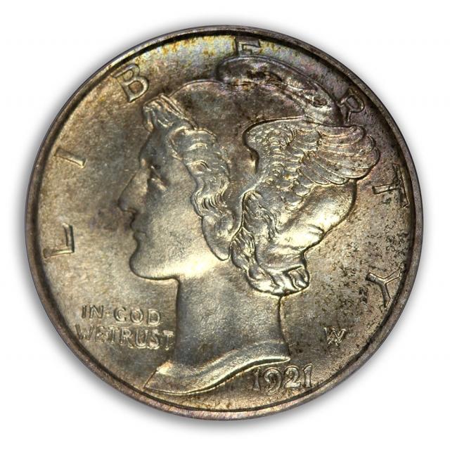 1921-D 10C Mercury Dime PCGS MS64FB (CAC)