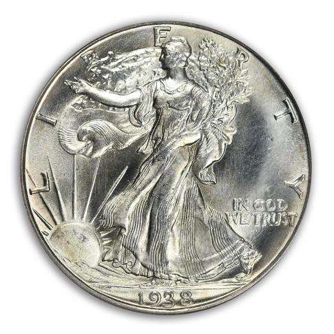 1938-D 50C Walking Liberty Half Dollar PCGS MS66 (CAC)