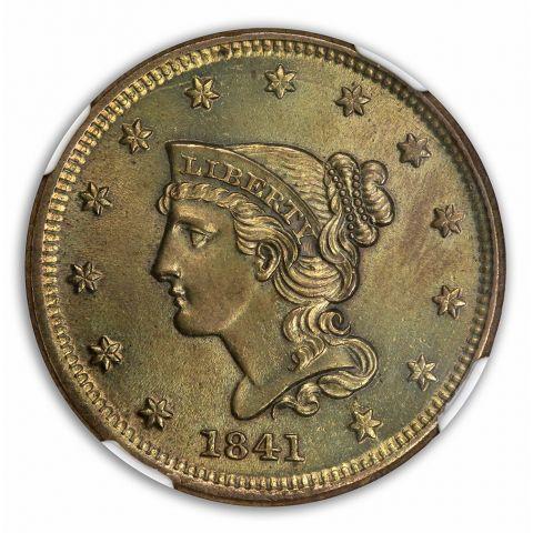 1841 Coronet, Braided Hair Cent 1C NGC MS63BN