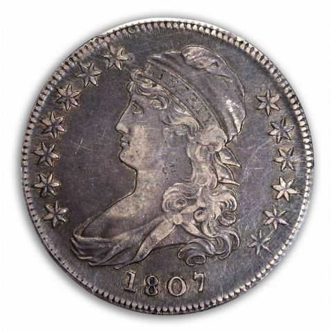 1807 50C Large Stars 50/20 Capped Bust Half Dollar PCGS XF45 (CAC)