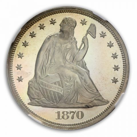 1870 Seated Liberty - Motto S$1 NGC PR67DCAM