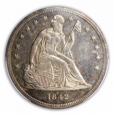 1842 $1 Liberty Seated Dollar PCGS MS63