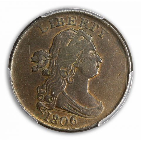 1806 1/2C Small 6, No Stems Draped Bust Half Cent PCGS AU50BN