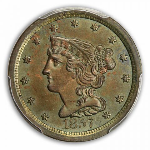 1857 1/2C Braided Hair Half Cent PCGS MS63BN