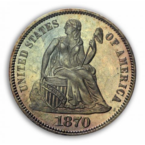 1870 10C Liberty Seated Dime PCGS PR67 (CAC)