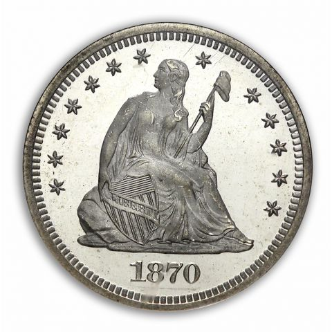 1870 25c Seated Liberty Quarter - NGC PF67UCAM (CAC)