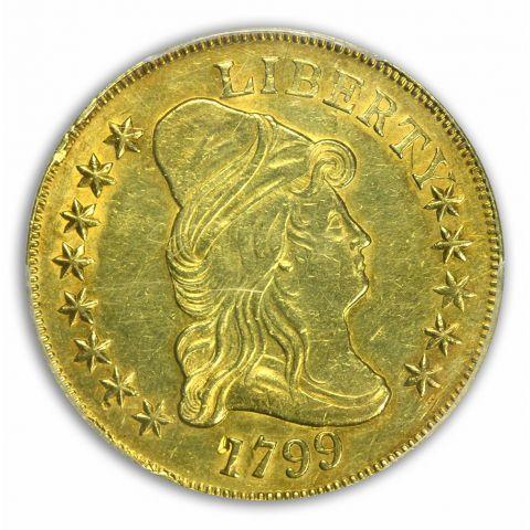 1799 $10 Small Stars Obverse Draped Bust Eagle PCGS AU53
