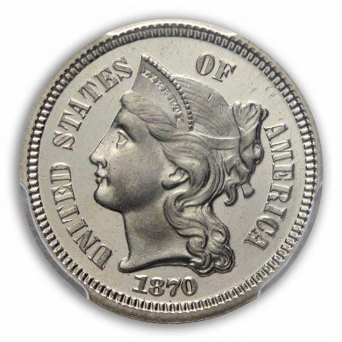 1870 3CN Three Cent Nickel PCGS PR66+DCAM (CAC)